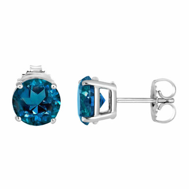 London Blue Topaz Stud Earrings 14K White Gold 2.00 Carat VVS1 HandMade Birthstone