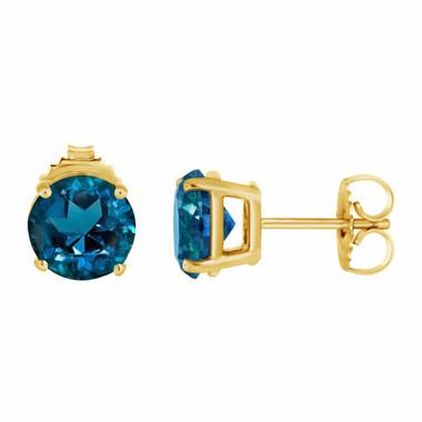 London Blue Topaz Stud Earrings 14K Yellow Gold 2.00 Carat VVS1 HandMade Birthstone