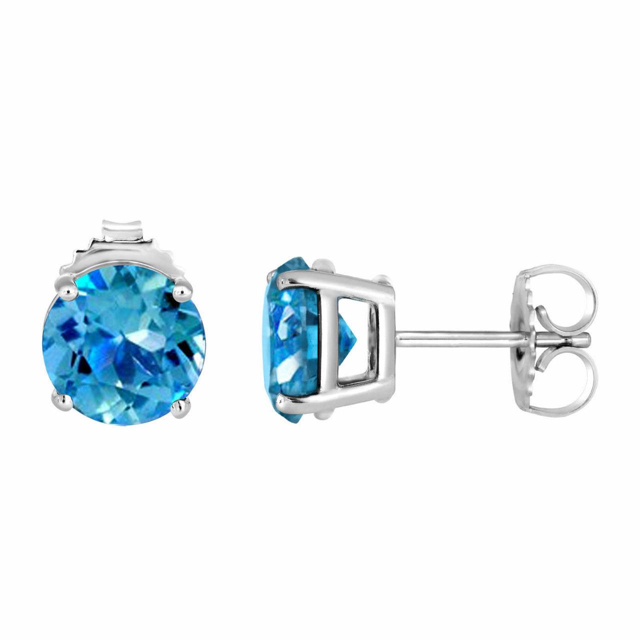 ff9bc963b Blue Topaz Stud Earrings 14K White Gold 2.00 Carat VVS1 HandMade Birthstone