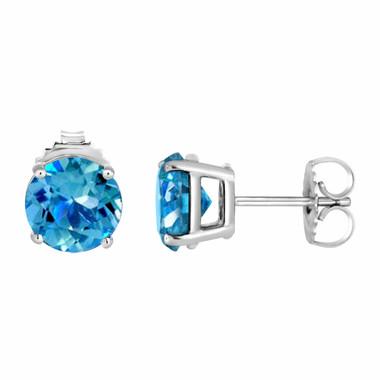Blue Topaz Stud Earrings 14K White Gold 2.00 Carat VVS1 HandMade Birthstone