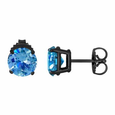 Blue Topaz Stud Earrings Vintage Style 14K Black Gold 2.00 Carat VVS1 HandMade Birthstone