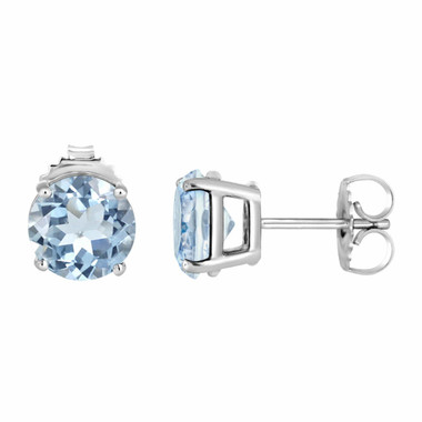 1.00 Carat Aquamarine Stud Earrings 14K White Gold HandMade Birthstone