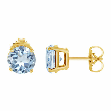 1.00 Carat Aquamarine Stud Earrings 14K Yellow Gold HandMade Birthstone