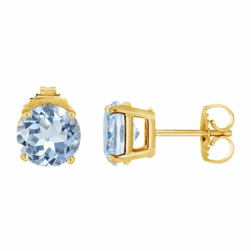 1.00 Carat Aquamarine Stud Earrings 14K Yellow Gold HandMade Birthstone
