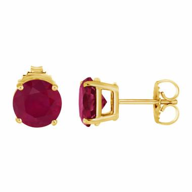 1.00 Carat Ruby Stud Earrings 14K Yellow Gold HandMade Birthstone