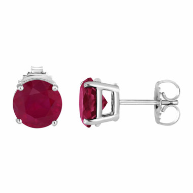 1.00 Carat Ruby Stud Earrings 14K White Gold HandMade Birthstone