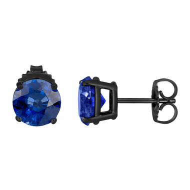 Ceylon Blue Sapphire Stud Earrings Vintage Style 14K Black Gold 1.00 Carat HandMade Certified Birthstone