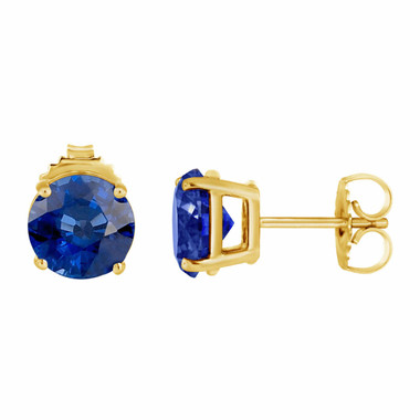 Ceylon Blue Sapphire Stud Earrings 14K Yellow Gold 1.00 Carat HandMade Birthstone