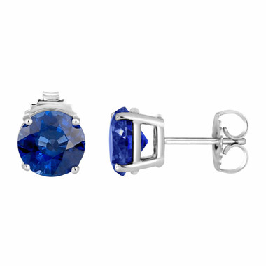 Ceylon Blue Sapphire Stud Earrings 14K White Gold 1.00 Carat HandMade Birthstone