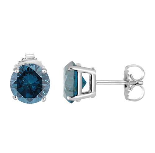 1.00 Carat Fancy Blue Diamond Stud Earrings 14K White Gold Certified Handmade