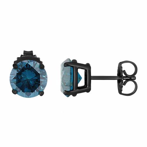 Fancy Blue Diamond Stud Earrings 1.00 Carat Vintage Style 14K Black Gold Certified Handmade