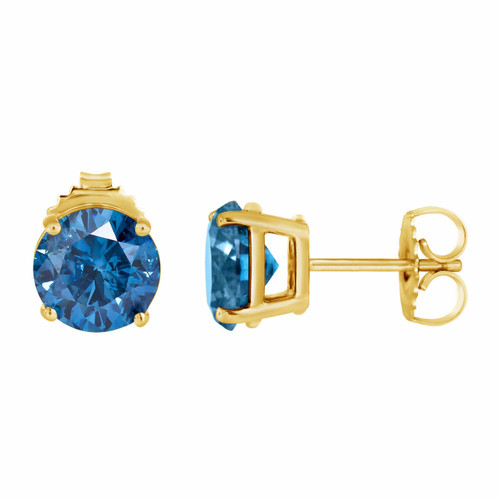 Fancy Blue Diamond Stud Earrings 1.00 Carat 14K Yellow Gold Certified HandMade