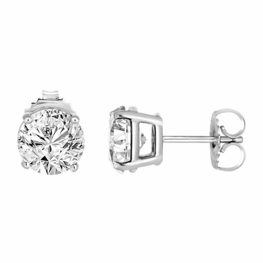 Diamond Stud Earrings 0.90 Carat 14K White Gold HandMade Certified
