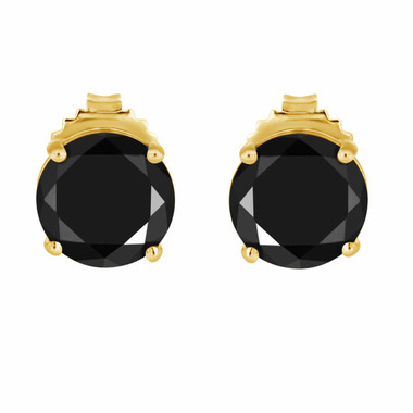 3.00 Carat Fancy Black Diamond Stud Earrings 14K Yellow Gold HandMade Earrings