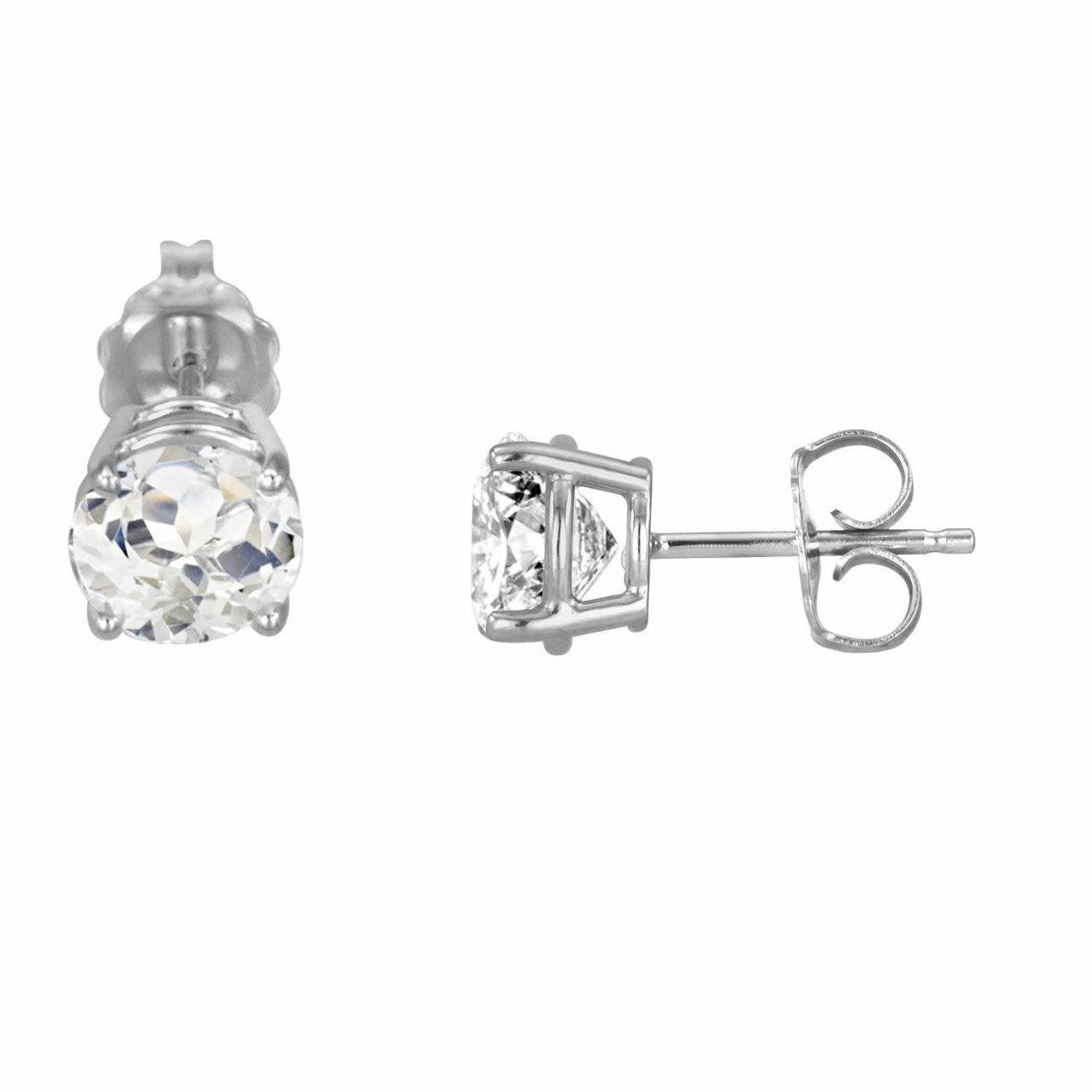 9e4da08f0 White Topaz Stud Earrings 14K White Gold 2.00 Carat HandMade
