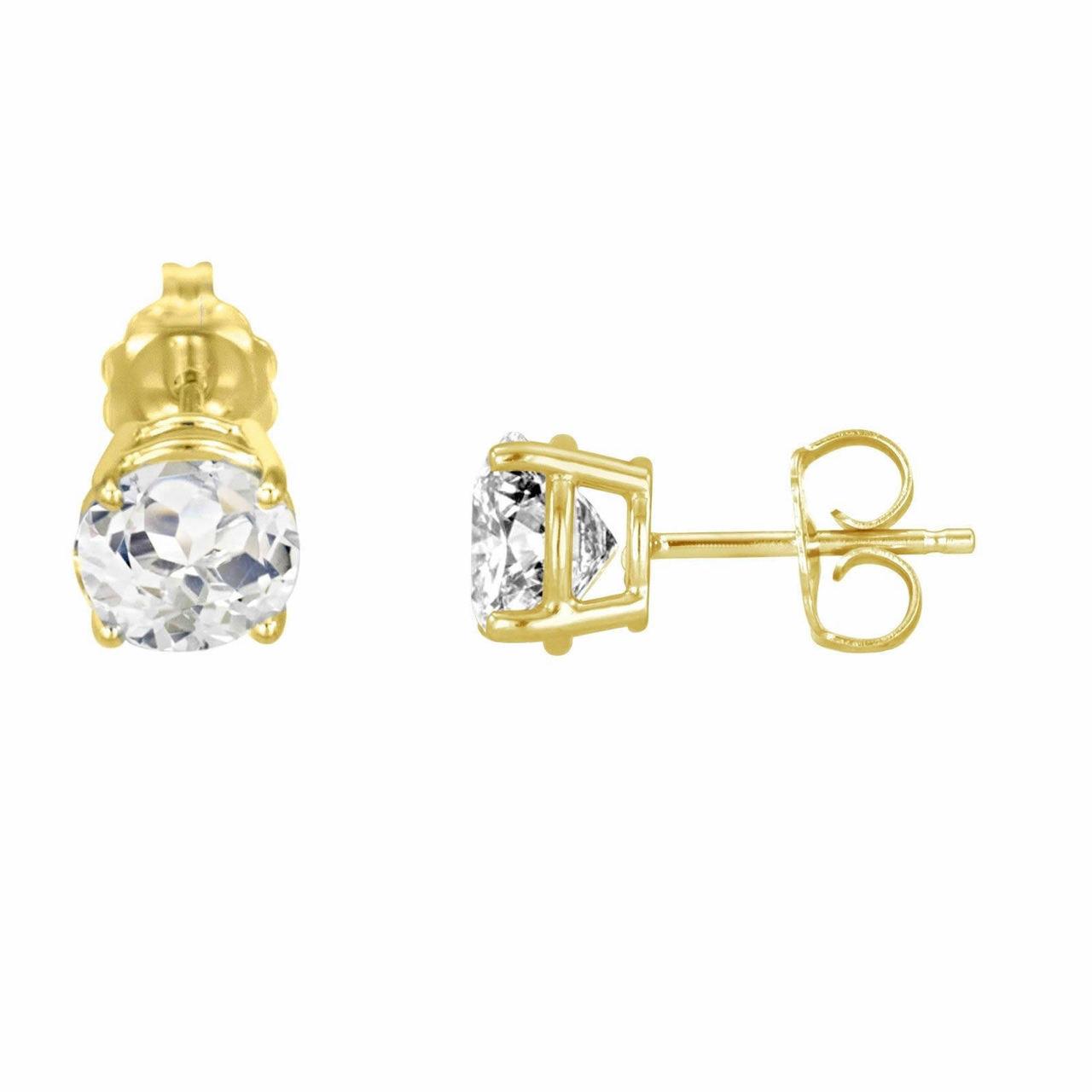 a0bdbfc3e 14k Yellow Gold White Topaz Stud Earrings 2.00 Carat HandMade