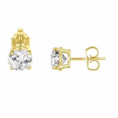 Yellow Gold White Topaz Stud VVS1 14K Earrings 2.00 Carat HandMade