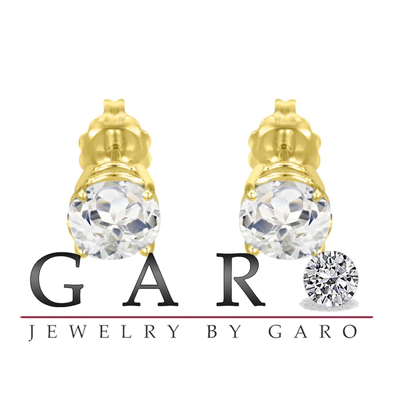 927b0ce68 Yellow Gold White Topaz Stud VVS1 14K Earrings 2.00 Carat HandMade. Larger  / More Photos