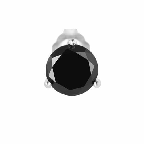 1.05 Carat Fancy Black Diamond Single Martini Stud Earring 14K White Gold HandMade Earring