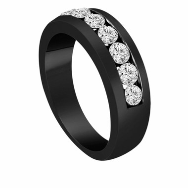Mens  Diamond Wedding Band 0.77 Carat Vintage Style 14K Black Gold Canal Set 6 mm Handmade