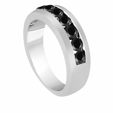 Black Diamond Mens Wedding Band 1.00 Carat 14K White Gold  6 mm Handmade