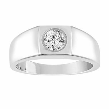 14K White Gold Mens 0.50 Carat Natural Diamond Solitaire Mens Ring HandMade