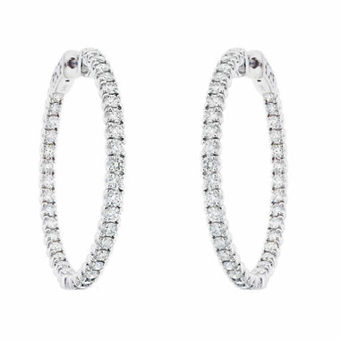 1.25 Inch Inside & Out Diamond Hoop Earrings, 2.86 Carat Diamond Hoop Earrings, 14K White Gold Certified
