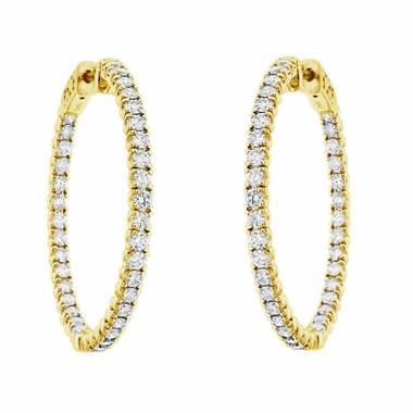 """Inside & Outside Diamond Hoop Earrings Yellow Gold, Diamond Hoop Earrings Gold,  2.86 Carat 1.25"""" inch Certified"""