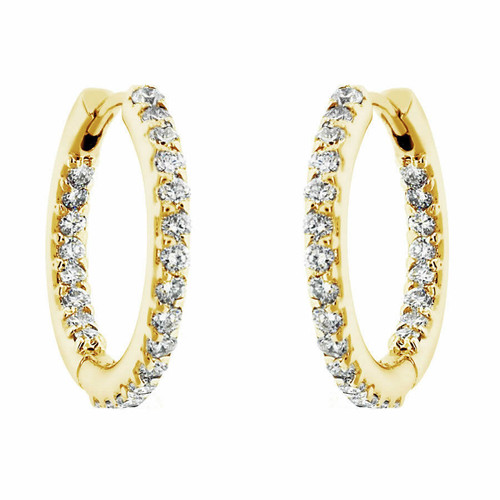 14K Yellow Gold 0.88ct Inside & Outside Diamonds Hoop Earrings 0.75 inch Hand Made
