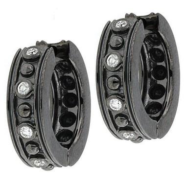 0.20ct Vintage Style 14K Black Gold Diamonds Hoop Earrings Hand Made