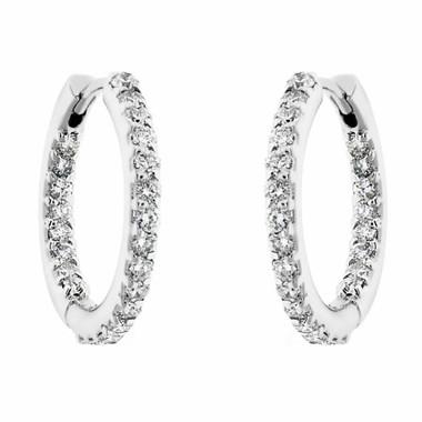 """0.88 Carat Inside & Outside Diamonds Hoop Earrings 0.75"""" inch 14K White Gold HandMade"""