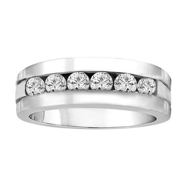 Mens 1.50 Carat Wedding & Anniversary Diamond Band 14K White Gold Canal Set 7.5 mm Handmade