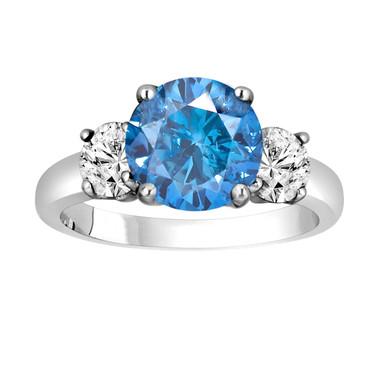 Blue Diamond Engagement Ring 2.45 Carat Three-Stone Fancy Blue & White Diamond Engagement Ring 14k White Gold Certified Handmade Unique