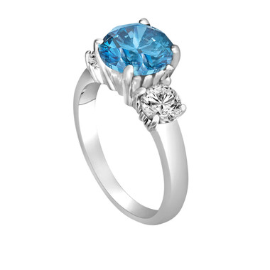 Platinum Blue Diamond Engagement Ring 2.45 Carat Three-Stone Fancy Blue & White Diamond Engagement Ring Certified Handmade Unique