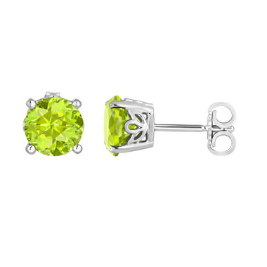 Peridot Stud Earrings 2.00 Carat 14K White Gold HandMade Gallery Designs Birthstone Color Stone Earrings