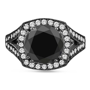 Huge Fancy Black Diamond Cocktail Ring 4.00 Carat Vintage Style 14k Black Gold Certified handmade Unique