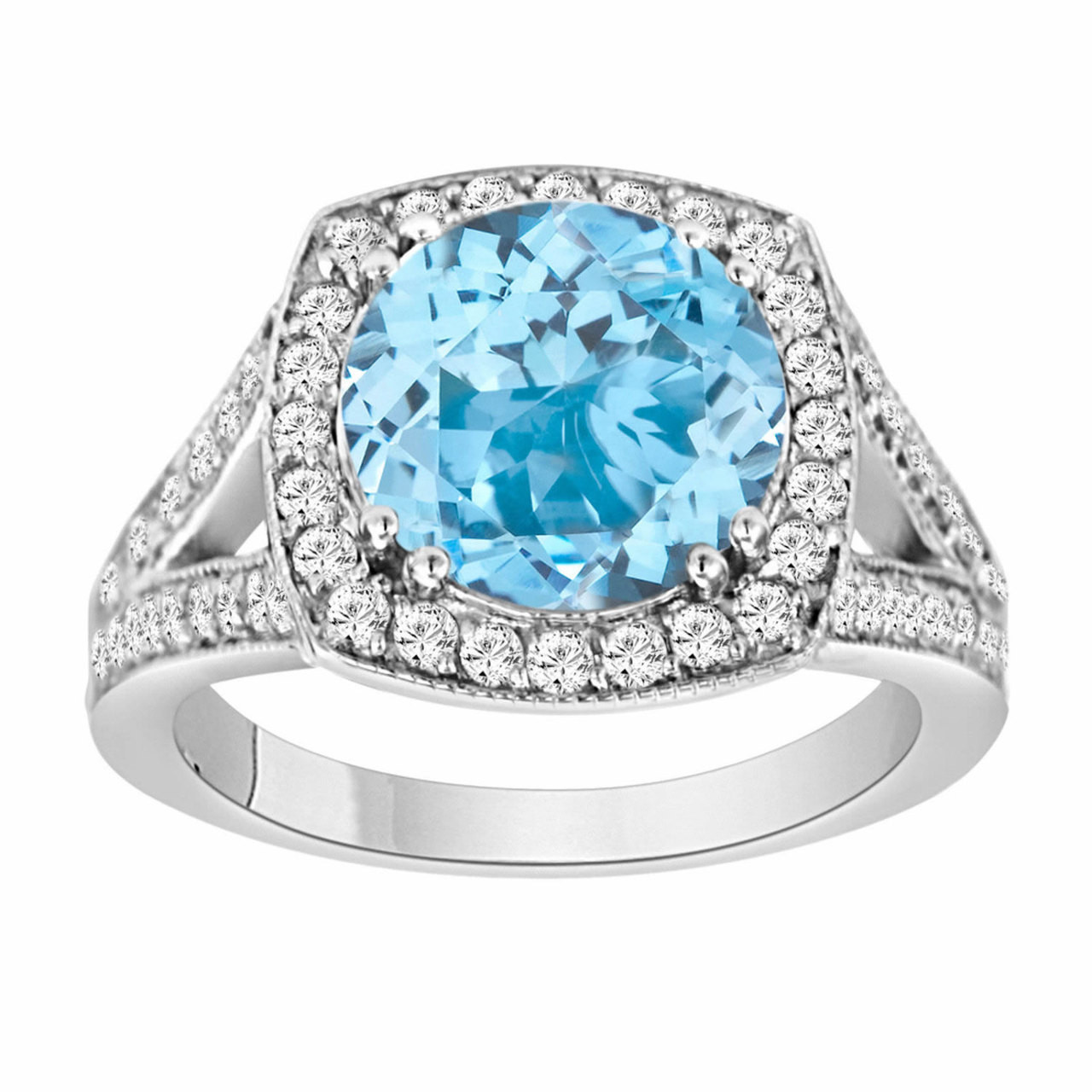 3 Carat Blue Topaz Engagement Ring Blue Topaz And Diamonds Wedding