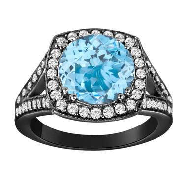 Blue Topaz & Diamond Engagement Ring Vintage Style 14K Black Gold 3.00 Carat Pave Set HandMade Certified