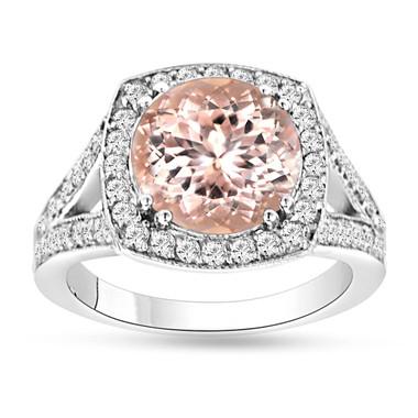 Morganite & Diamond Engagement Ring 14K White Gold 3.00 Carat Pave Set Handmade Certified Huge Halo