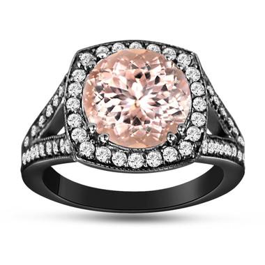 Morganite & Diamond Engagement Ring Vintage Style 14K Black Gold 3.00 Carat Pave Set HandMade Certified Huge Halo