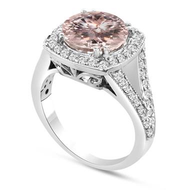 Morganite & Diamond Cocktail Ring 14K White Gold 3.00 Carat Pave Set HandMade Certified Huge Halo