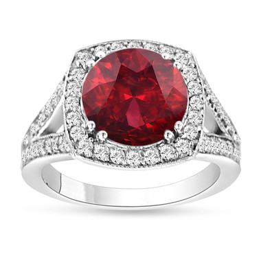 Garnet & Diamond Engagement Ring 14K White Gold 3.35 Carat Pave Set HandMade Certified Birthstone Huge Halo