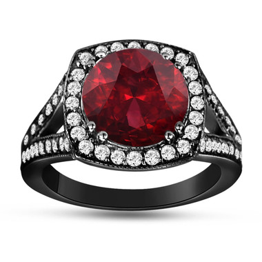 Garnet & Diamond Engagement Ring Vintage Style 14K Black Gold 3.35 Carat Pave Set HandMade Certified Birthstone Huge Halo