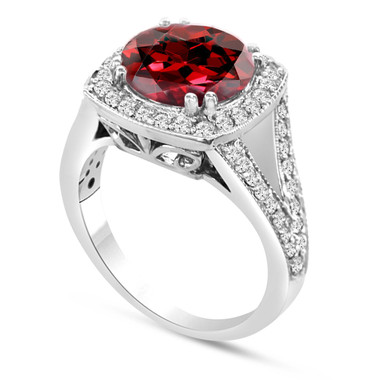 Red Garnet & Diamond Cocktail Ring 14K White Gold 3.35 Carat Pave Set HandMade Certified Birthstone Huge Halo