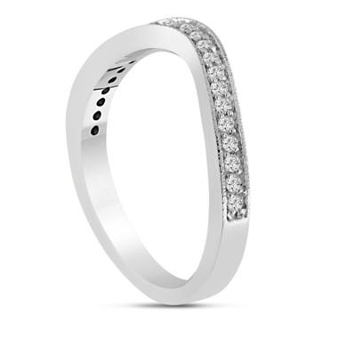 Platinum Wedding & Anniversary Diamond Curve Band 0.23 Carat Pave Set