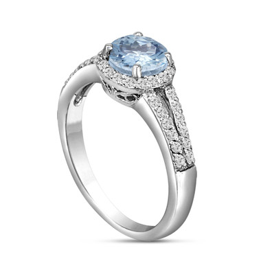 Platinum Aquamarine & Diamond Engagement Ring 1.20 Carat HandMade Certified Birthstone