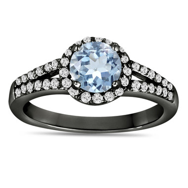 Aquamarine And Diamond Engagement Ring Vintage Style 14K Black Gold 1.34 Carat HandMade Certified Birthstone