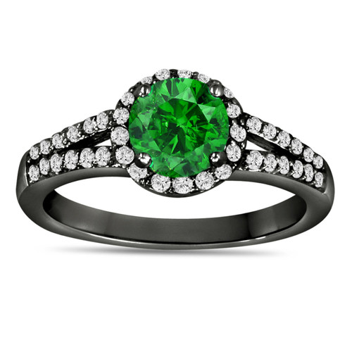 1.36 Carat Fancy Green Diamond Engagement Ring Vintage Style 14K Black Gold Halo Certified Handmade