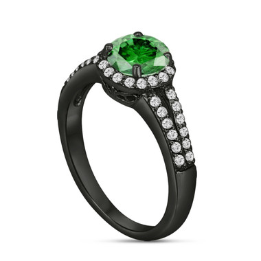 Fancy Green Diamond Engagement Ring Vintage Style 14K Black Gold 1.34 Carat Halo Certified Handmade