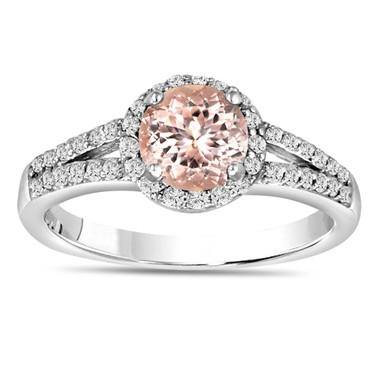 Morganite & Diamond Engagement Ring 14K White Gold 1.24 Carat Pave Set HandMade Certified Halo